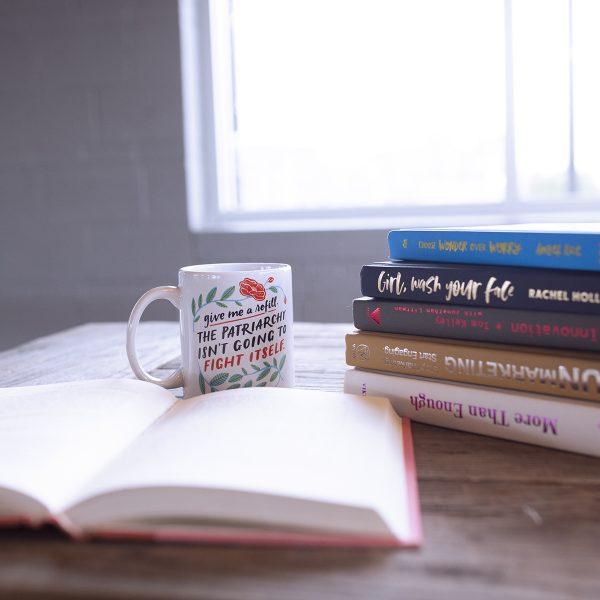 coffee mug with books